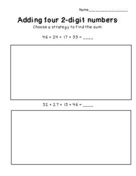 Adding 2-digit numbers with 4 addends