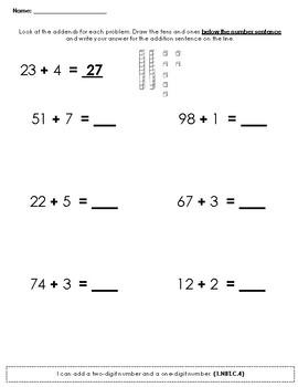 Adding 2 digit to 1 digit numbers