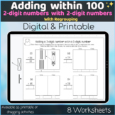 Adding 2 digits numbers with regrouping within 100 Digital Printable worksheets