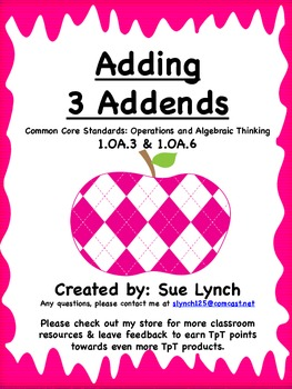 Adding 3 Addends Task Cards~CCSS: 1.OA.3 & 1.OA.6 independ
