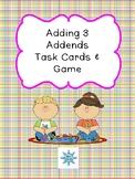 Adding 3 Addends Task Cards & Game 1.OA.2
