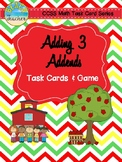 Back to School Themed Adding 3 Addends Task Cards & Game