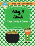 Adding 3 Addends Task Cards & Game (March)