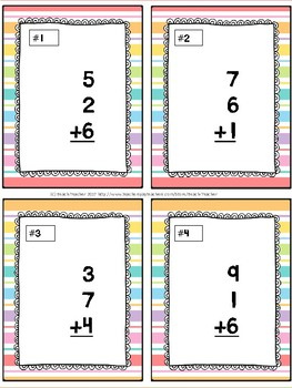 Summer Themed Adding 3 Addends Task Cards & Game 1.OA.2