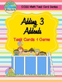 Summer Themed Adding 3 Addends Task Cards & Game