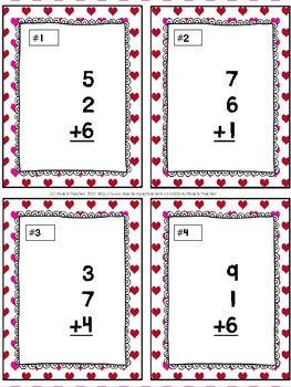 Adding 3 Addends Task Cards & Game (Valentine's Day)