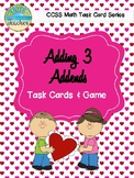 February Themed Adding 3 Addends Task Cards & Game