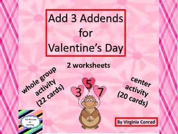 Adding 3 Addends---Valentine's Day Theme