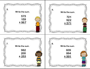 Adding 3-Digit Numbers With 3 Addends-40 Task Cards-Grades 3-4