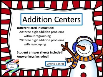 Adding 3 Digit Numbers--With and Without Regrouping--Snowman Theme