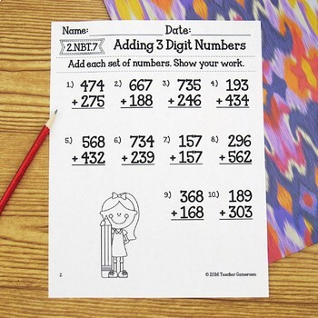 Adding 3 Digit Numbers Worksheets