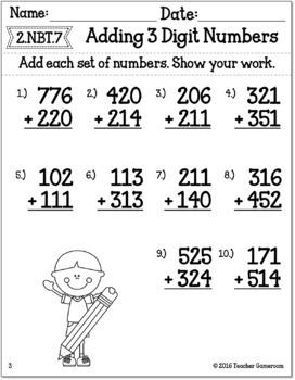 Adding 3 Digit Numbers Worksheets By Teacher Gameroom Tpt