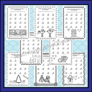 Adding 3 Digit Numbers Worksheets - Winter Themed