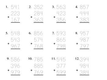 Adding 3-Digit Numbers pdf (12 problems) Kathy Troxel