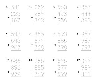 Adding 3-Digit Numbers pdf (12 problems) Kathy Troxel