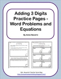 Adding 3 Digits - Word Problems and Equations