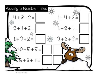 Adding 3 Number Tiles Winter Theme