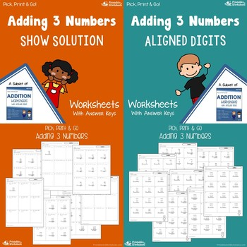 Adding 3 Numbers Worksheets Bundle, Three Number Addition Practice Pages