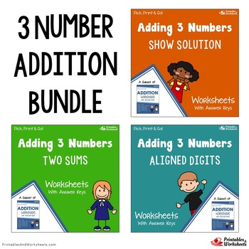 Adding 3 Numbers Worksheets with Answer Keys