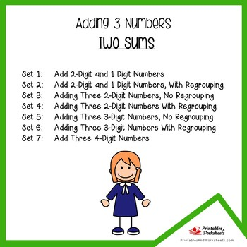 Adding 3 Numbers Addition Worksheets (2 Sums)