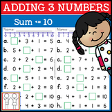 Adding 3 Numbers First Grade