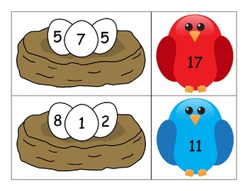 Adding 3 Numbers - Bird Theme Complements of 10 Activity