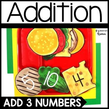 Adding 3 Numbers Burger Math Center