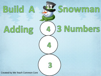 Adding 3 Numbers Build a Snowman Math Center Activity