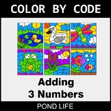 Adding 3 Numbers - Color by Code / Coloring Pages - Pond Life