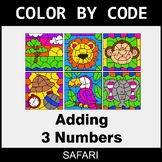 Adding 3 Numbers - Color by Code / Coloring Pages - Safari