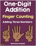 Finger Counting One Digit  Addition Adding 3 Numbers Worksheets