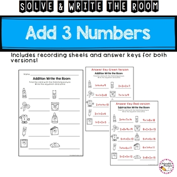 Adding 3 Numbers First Grade Solve and Write the Room