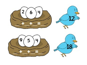 Adding 3 Numbers Matching Birds in a Nest
