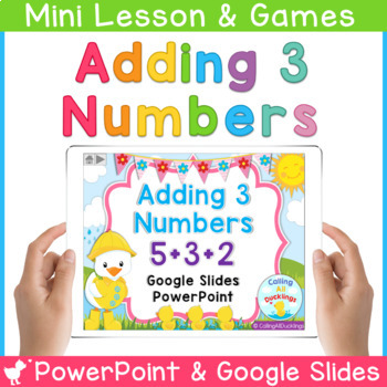 Adding 3 Numbers Smartboard and Powerpoint