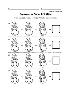 Snowman Dice One Digit Addition Adding 3 Numbers Worksheets