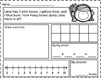 Adding 3 Numbers Story Problems to 10 {Word Problems}