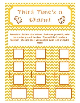 Adding 3 Numbers - Third Time's a Charm Activity