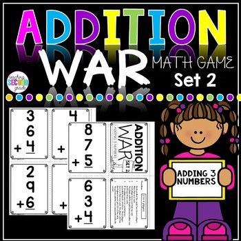 Addition with 3 Numbers War Math Game Set 2