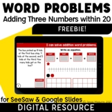 Adding 3 Numbers Word Problems Addition within 20 Digital