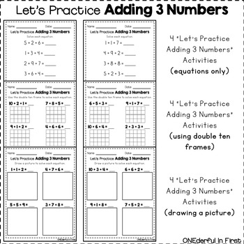 Adding 3 Numbers - Worksheets, Hands-On Activity, and NO-PREP Game
