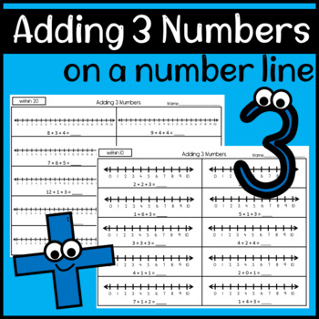 Adding 3 Numbers using a Number Line Worksheets