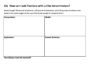 Adding 3 Separate Fractions Task