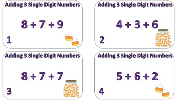 Adding 3 Single Digit Numbers Task Cards (Halloween Themed)