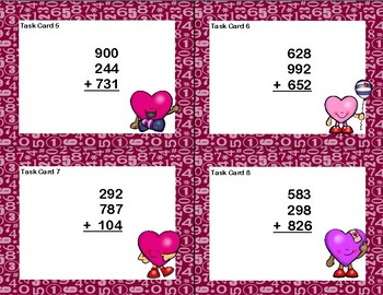 Adding 3 Three-Digit Numbers-Task Cards-Grades 2-3 Valentine's Day