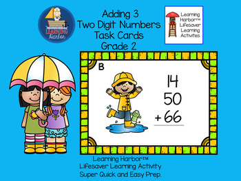 Adding 3 Two Digit Numbers   Rainy Day Kids Theme  Task Cards  Grade 2