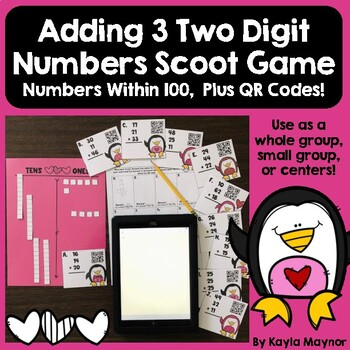 Adding 3 Two Digit Numbers Scoot (Penguin Heart Themed)