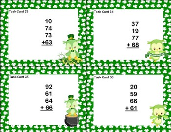 Adding 3 Two-digit Numbers -40 Math Task Cards -2nd Grade-St. Patrick's Day