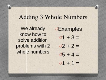 Adding 3 Whole Numbers