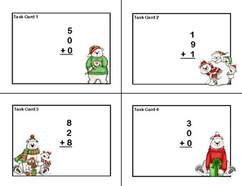 Adding 3 and 4 One-digit Numbers-Task Cards- Christmas Polar Bears