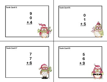 Adding 3 and 4 One-digit Numbers-Task Cards-Grade 2 -Christmas Owls